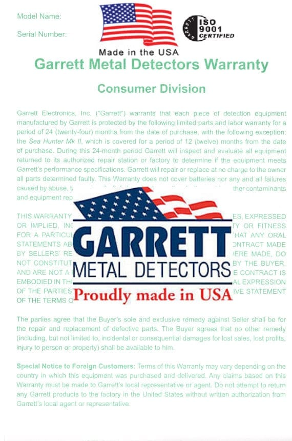 garrett gti2500 pro package εγγύηση
