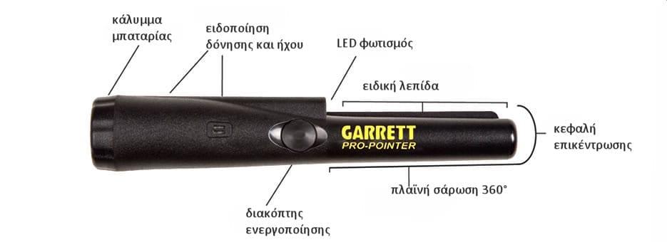 garrett pro pointer ανιχνευτής μετάλλων ακριβείας