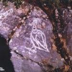 σημάδι με πουλιά σε βράχο