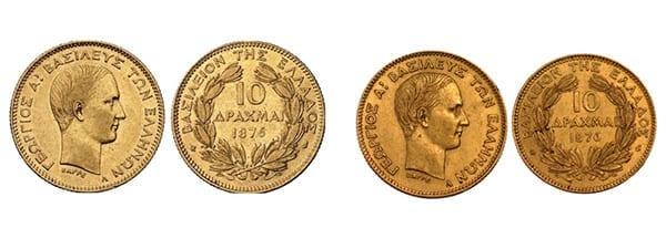 ελληνικό χρυσό νόμισμα 10 δραχμές 1876