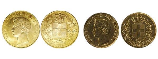 ελληνικό χρυσό νόμισμα 20 δραχμές 1833