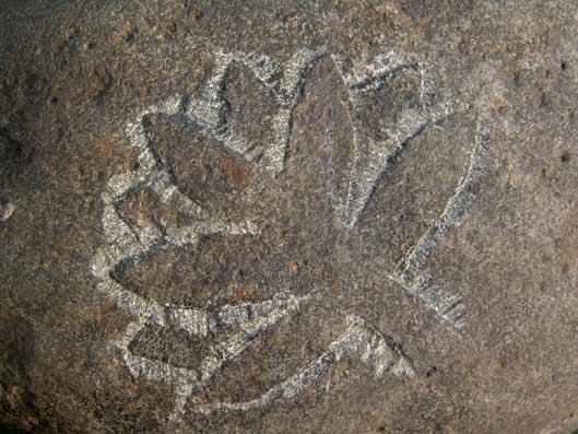 σημάδι με δέντρο χαραγμένο σε πέτρα